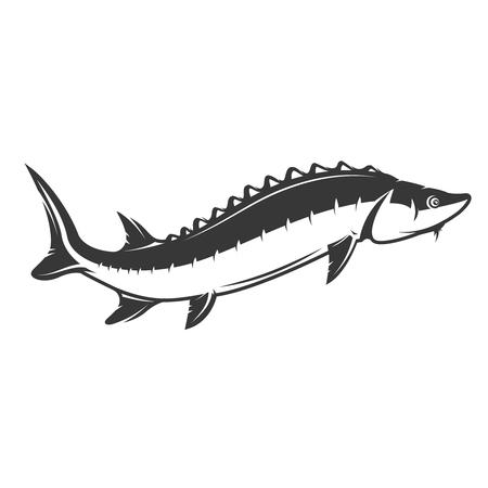 新鮮な魚介類。白い背景のチョウザメのアイコン。ロゴ、ラベル、紋章、記号の要素をデザインします。ベクトル図