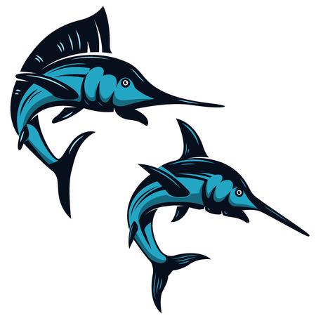 Conjunto de iconos de pez espada aislado sobre fondo blanco. Elementos de diseño para el emblema, insignia, etiqueta, signo. Ilustración del vector