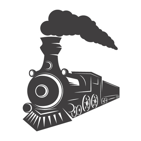 Vintage train isolated on white background. Design element for logo, label, emblem, sign. Vector illustration