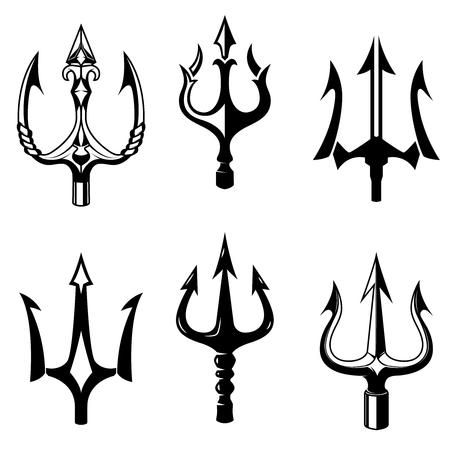 Set di icone di tridente isolato su sfondo bianco. Elementi di design per logo, etichetta, emblema, segno. Illustrazione vettoriale Archivio Fotografico - 83461121