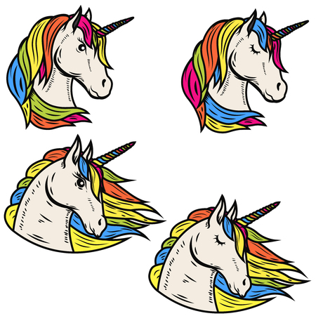 Set of magic unicorn illustrations isolated on white background. Design elements for emblem, badge, label, sign. Vector illustration