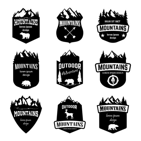 Set of mountains, outdoor camping emblems. Design elements for logo, label, badge, sign. Vector illustration