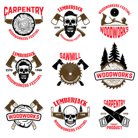 Set of wood works design elements. Sawmills, axes. Carpentry products. Woodworkers festival