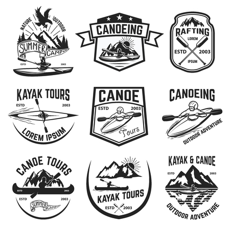 Set of canoeing and kayaking tours emblems. Rafting. Outdoor open water sport. Vector illustration.