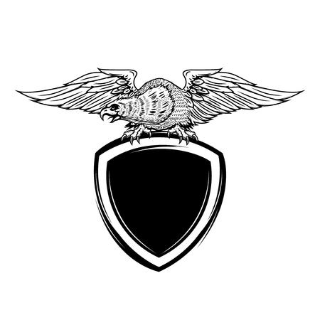Blank emblem template with eagle bird. Design element for logo, label, emblem, sign, badge. Vector illustration Illustration