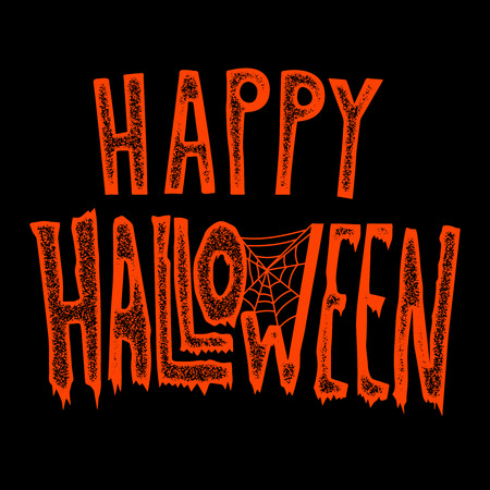 Happy Halloween. Hand drawn lettering phrase on black background. Design element for poster, greeting card. Vector illustration