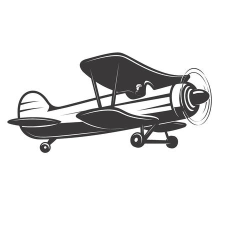 ヴィンテージ飛行機のイラスト。 ロゴ、ラベル、紋章、記号、バッジのデザイン要素です。ベクトル図