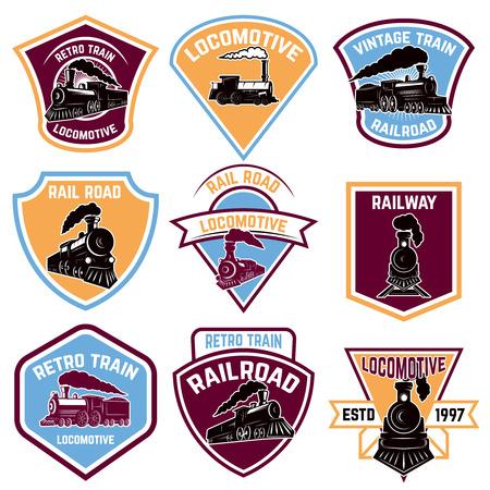Set of emblems with vintage train. Retro rail road.  Design element for logo, label, emblem, sign, badge. Vector illustration