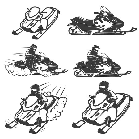 Set of snowmobile isolated on white background. Design elements for logo, label, emblem, sign. Vector illustration.