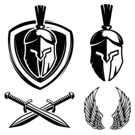 Spartan helmet, shield, sword, wings. Design elements for sport team label, badge, sign. Vector illustration