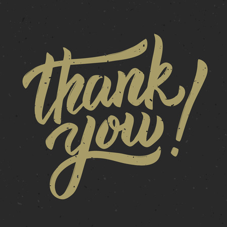 Thank you! Hand drawn lettering phrase on white background. Vector illustration