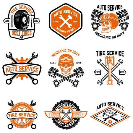 자동차 서비스, 자동차 서비스, 타이어 변경 배지 흰색 배경에 고립의 집합입니다. 로고, 레이블, 엠 블 럼, 기호 디자인 요소입니다. 벡터 일러스트 레