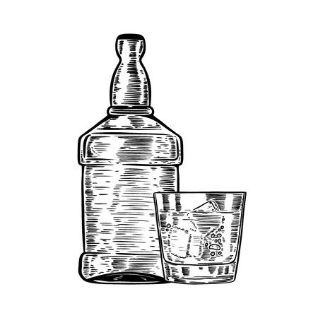 Hand drawn whiskey bottle with drinking glass. Design element for poster, menu. Vector illustration. Illustration