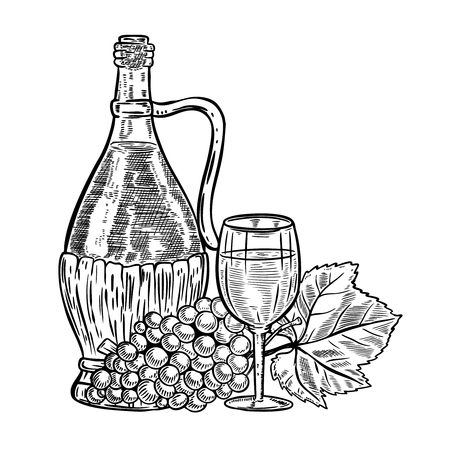 Vintage Wine Bottle With Grapes And Glass Design Elements
