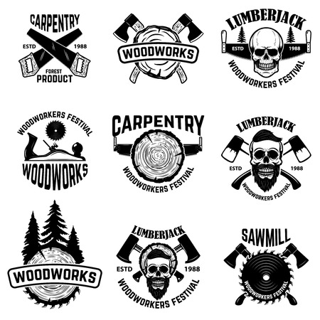Conjunto de elementos de diseño de obras de madera. Aserraderos, hachas. Productos de carpintería Festival de carpinteros