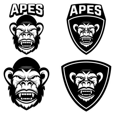 Set emblemen sjablonen met aap hoofd