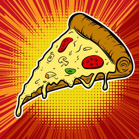 Pizza illustration on pop art background. Design element for poster, menu. Vector illustration