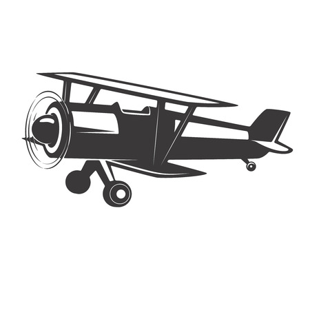 Vintage aeroplane illustration isolated on white background. Design elements for logo, label, emblem, sign. Vector illustration
