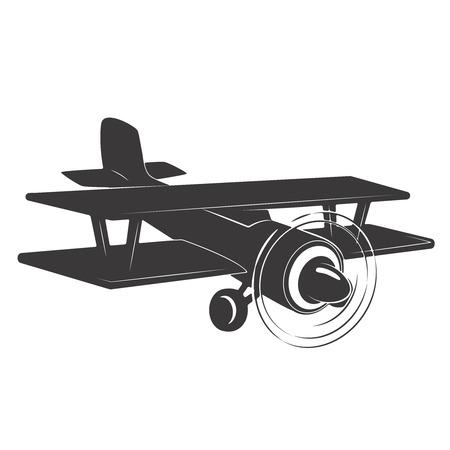 Vintage aeroplane illustration isolated on white background. Design elements for logo, label, emblem, sign. Vector illustration