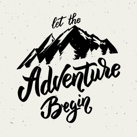 Laat het avontuur beginnen. Hand getrokken belettering op witte achtergrond. Ontwerpelement voor poster, kaart.