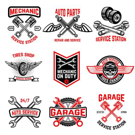自動車サービスのエンブレムのセットです。自動車部品、タイヤ ショップ、当番のメカニック。ロゴ、ラベル、紋章、記号、バッジのデザイン要素