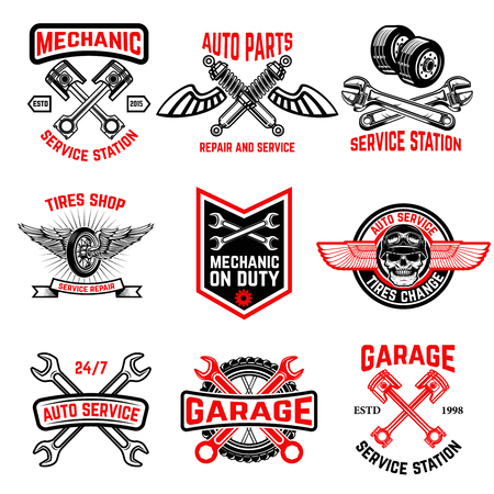 Set of auto service emblems. Auto parts, tires shop,mechanic on duty. Design elements for logo, label, emblem, sign, badge.