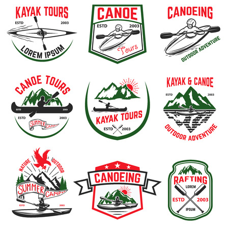 Set of canoeing and kayaking tours emblems. Rafting. Outdoor open water sport. Vector illustration Ilustrace