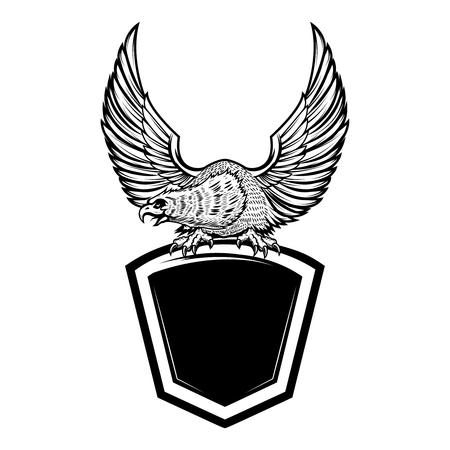 Eagle bird on blank shield. Design element for emblem, sign, badge. Vector illustration