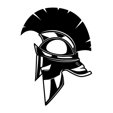 Spartan helmet illustration. Design element for logo, label, emblem, sign. Vector illustration 向量圖像