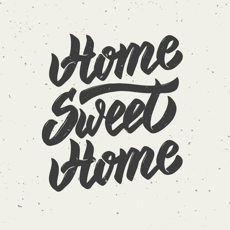 Home sweet home. Hand drawn lettering isolated on white background. Vector illustration