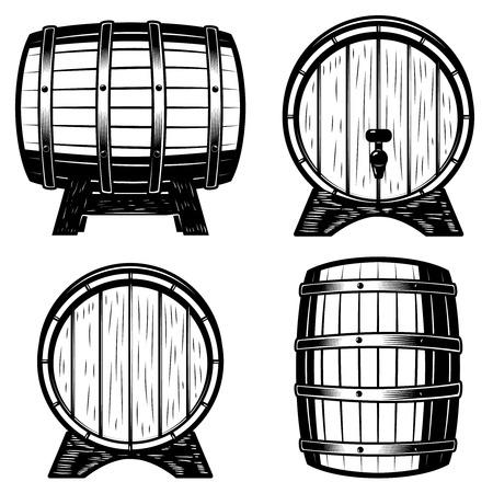 Set of wood barrels illustration isolated on white background. Design elements for logo, label, emblem, sign. Stok Fotoğraf - 84214513