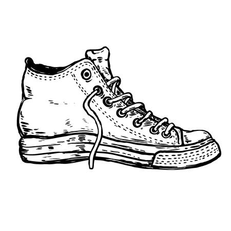 sneaker shoe illustration isolated on white background. Design element for poster, t shirt.