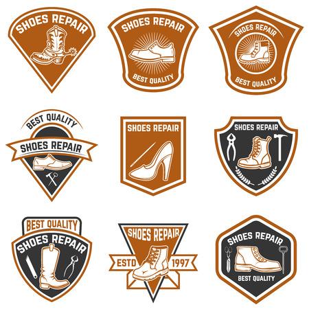 Set von Schuhreparatur-Emblemen. Schuhreparaturwerkzeuge. Design-Elemente für Logo, Label, Emblem, Zeichen. Standard-Bild - 84214512