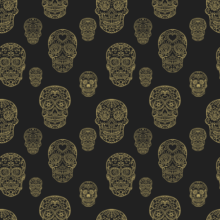 Seamless pattern with hand drawn sugar skulls. Day of the dead. Dia de los muertos. Vector illustration