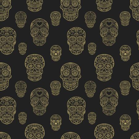 Seamless pattern with hand drawn sugar skulls. Day of the dead. Dia de los muertos. Vector illustration