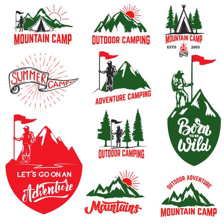 山のキャンプ、アウトドア ・ アドベンチャー、山のラベルのセットです。