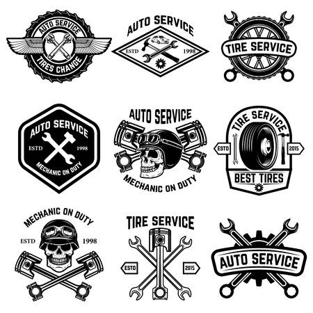 Set auto service, auto service, bandenwissel badges geïsoleerd op een witte achtergrond.