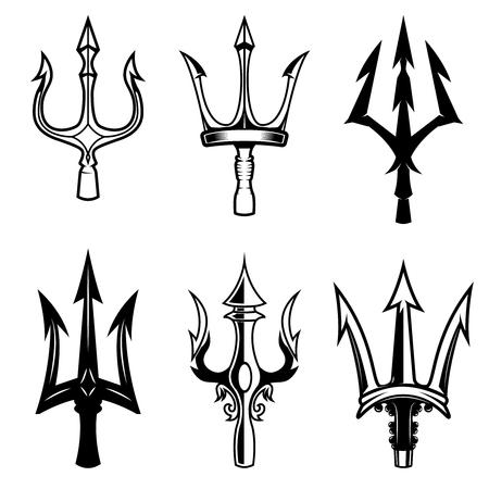 Reeks drietandpictogrammen op witte achtergrond wordt geïsoleerd die. Ontwerpelementen voor logo, label, embleem, teken. Logo