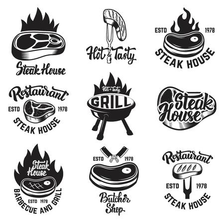 Set of steak house, butchery shop emblems with lettering. Design elements for logo, label, emblem, sign. Vector illustration