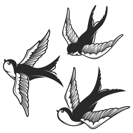 ツバメのイラストが白い背景で隔離のセットです。紋章、記号、バッジ、t シャツのデザインします。ベクトル図  イラスト・ベクター素材