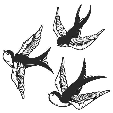 Ensemble d'illustrations d'hirondelle isolées sur fond blanc. Éléments de conception pour emblème, signe, badge, tee-shirt. Illustration vectorielle Banque d'images - 84275999