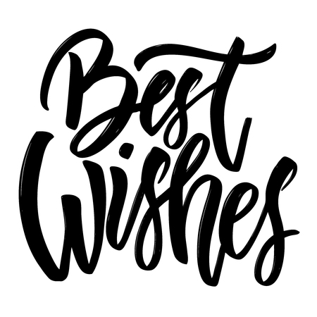Best wishes. Hand drawn lettering isolated on white background. Design element for poster, greeting card. Vector illustration Vettoriali