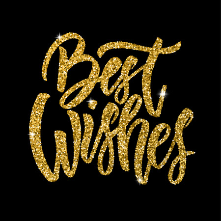 Best wishes. Hand drawn lettering phrase isolated in golden style on dark background. Design element for poster, greeting card. Vector illustration Reklamní fotografie - 84793744
