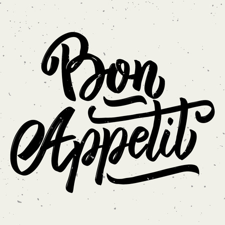 Bon appetit. Hand drawn lettering phrase isolated on white background. Design element for poster, greeting card. Vector illustration