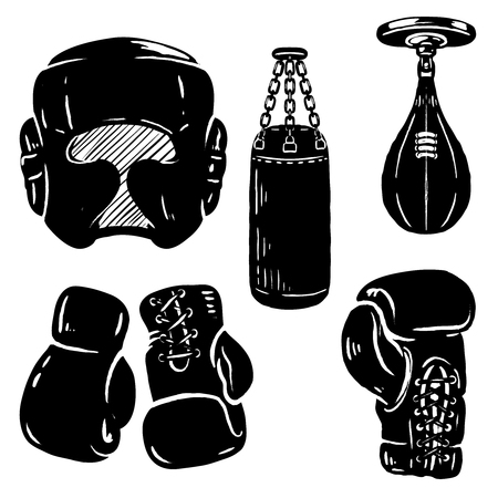 Set of boxing sport design elements