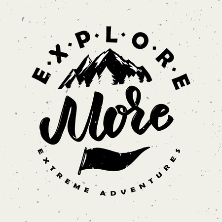 Explore more. Hand drawn lettering phrase isolated on white background. Design element for poster, greeting card. Vector illustration