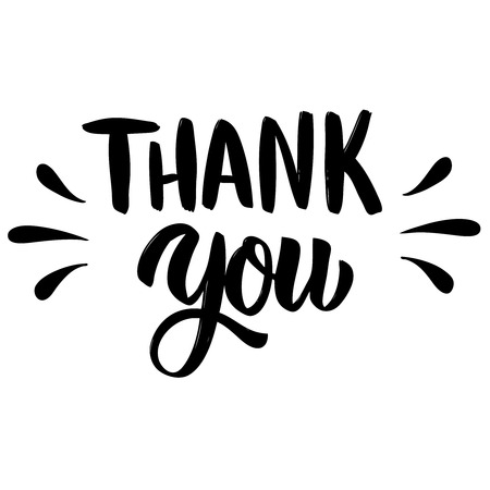 Thank you. Hand drawn lettering isolated on white background. Design elements for poster, greeting card. Vector illustration Illustration
