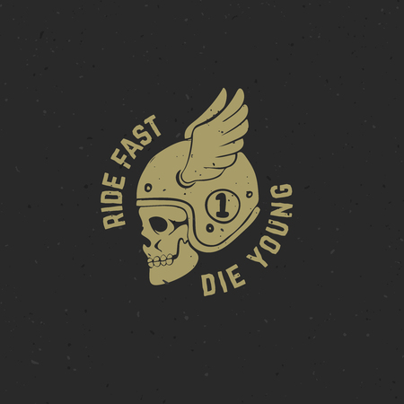 Hand drawn racer skull with wings. Ride fast die young. Design element for poster, t-shirt. Vector illustration