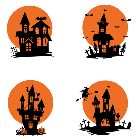 Set of ghost houses. Halloween theme. Design elements for poster, greeting card, invitation. Vector illustration 向量圖像