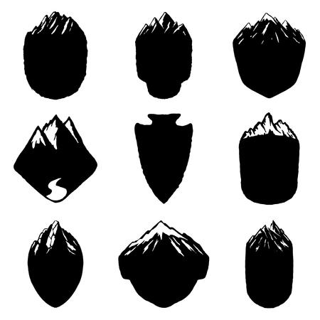 Set of blank emblems with mountains. Design elements for logo, label, emblem, sign. Vector illustration